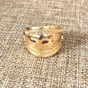 Hold 4 T Sunset Groove Gold Texture Embossed Ring